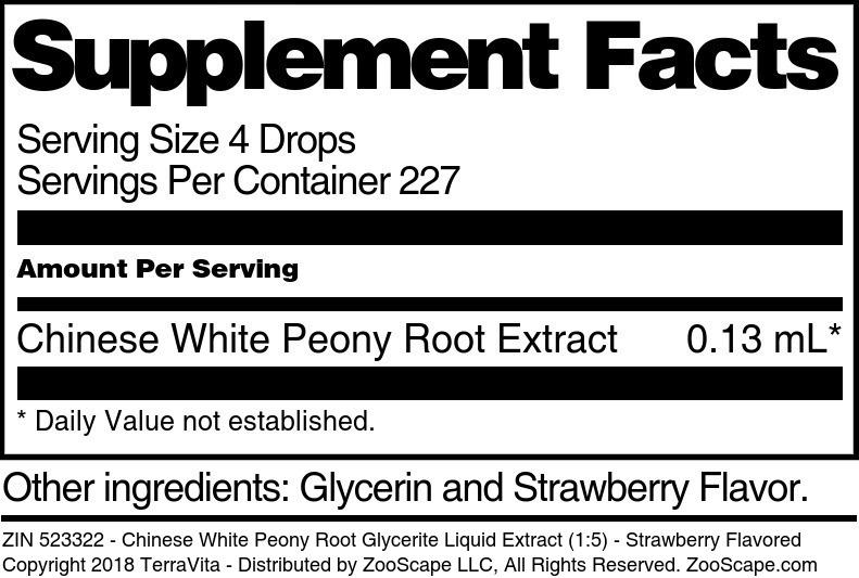 Chinese White Peony Root Glycerite Liquid Extract (1:5)