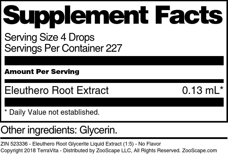 Eleuthero Root Glycerite Liquid Extract (1:5)