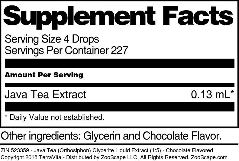 Java Tea (Orthosiphon) Glycerite Liquid Extract (1:5)