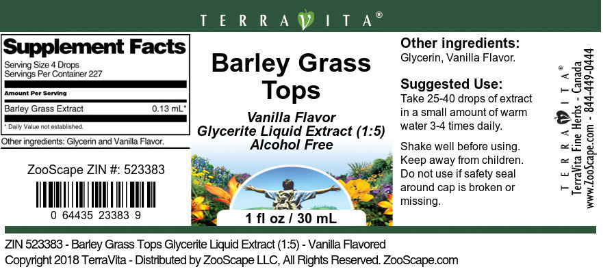 Barley Grass Tops Glycerite Liquid Extract (1:5)