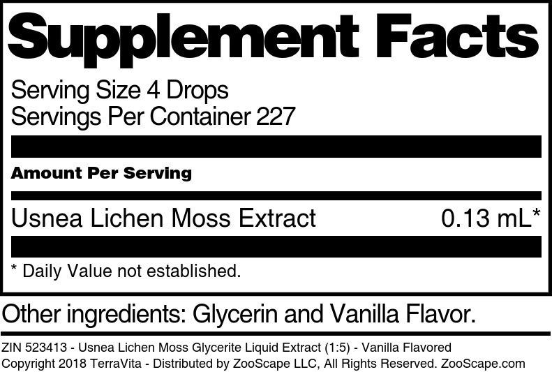 Usnea Lichen Moss Glycerite Liquid Extract (1:5)