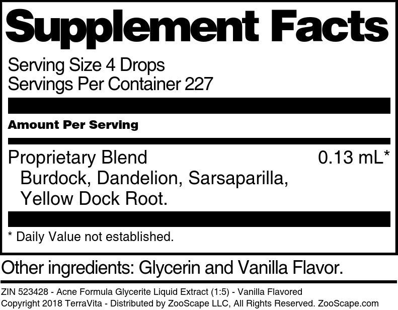Acne Formula Glycerite Liquid Extract (1:5)