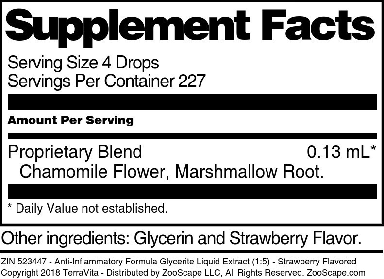 Anti-Inflammatory Formula Glycerite Liquid Extract (1:5)