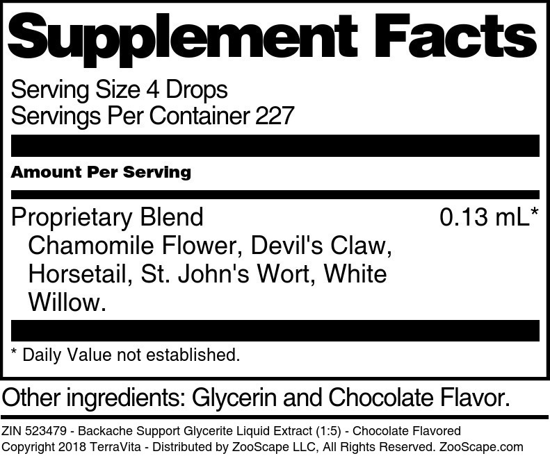 Backache Support Glycerite Liquid Extract (1:5)