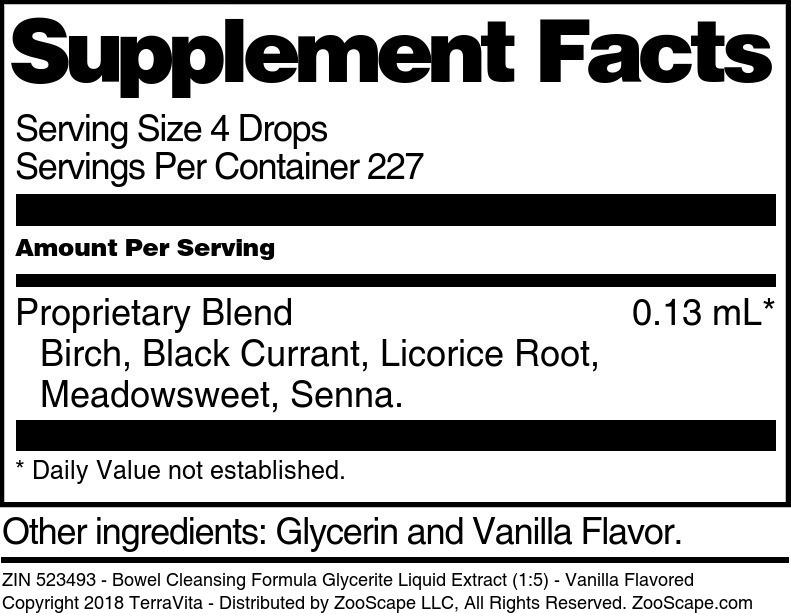 Bowel Cleansing Formula Glycerite Liquid Extract (1:5)