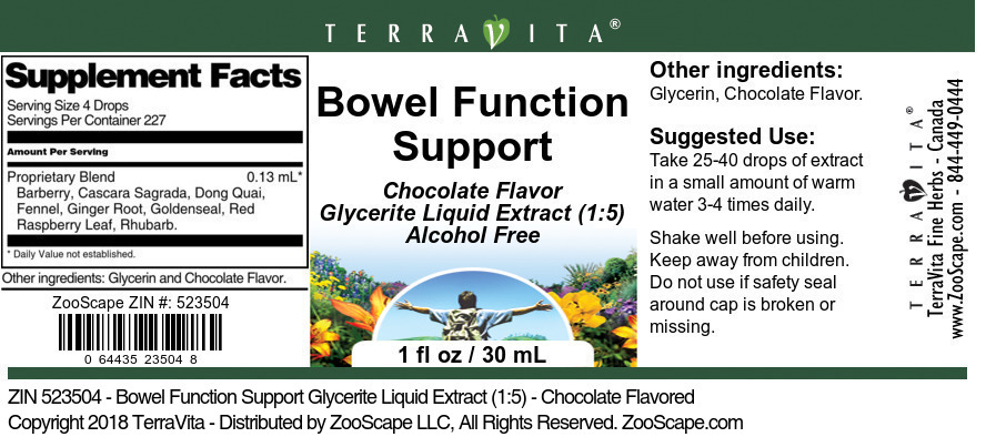 Bowel Function Support Glycerite Liquid Extract (1:5)