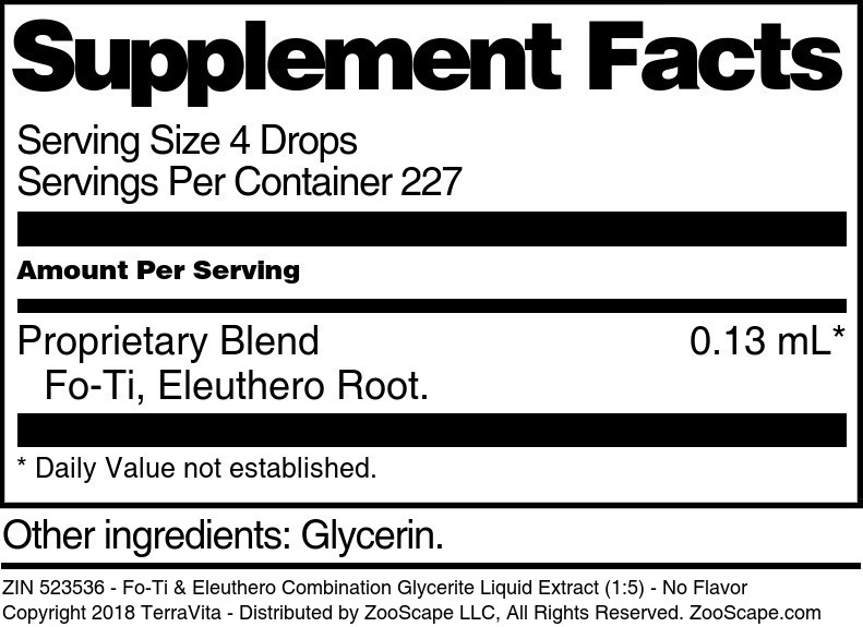 Fo-Ti & Eleuthero Combination Glycerite Liquid Extract (1:5)