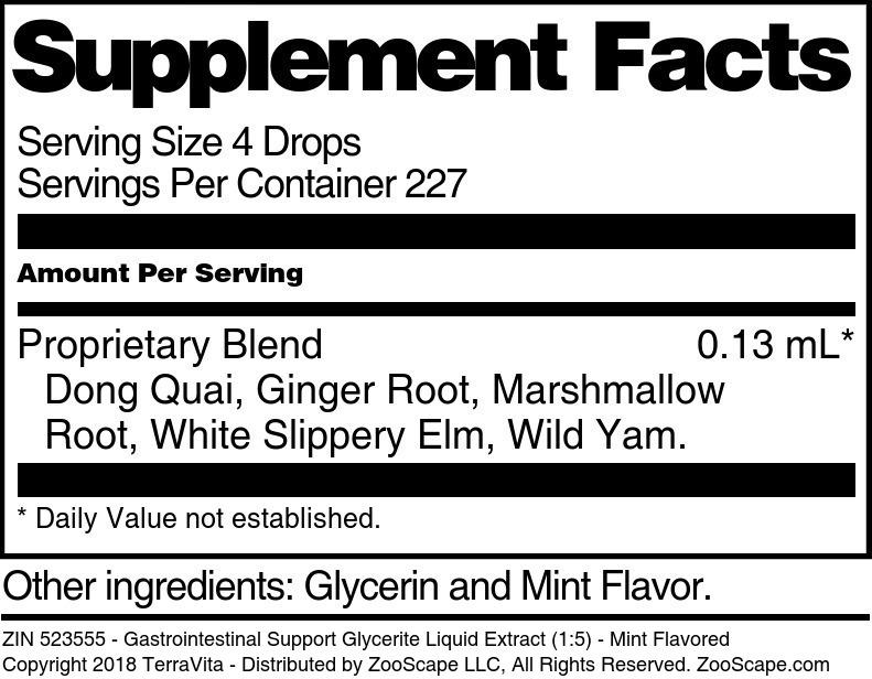 Gastrointestinal Support Glycerite Liquid Extract (1:5)