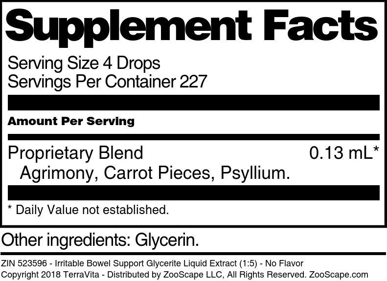 Irritable Bowel Support Glycerite Liquid Extract (1:5)