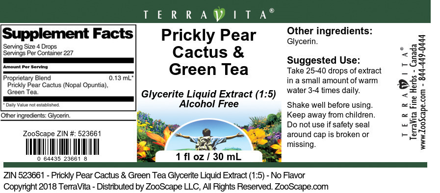 Prickly Pear Cactus & Green Tea Glycerite Liquid Extract (1:5)