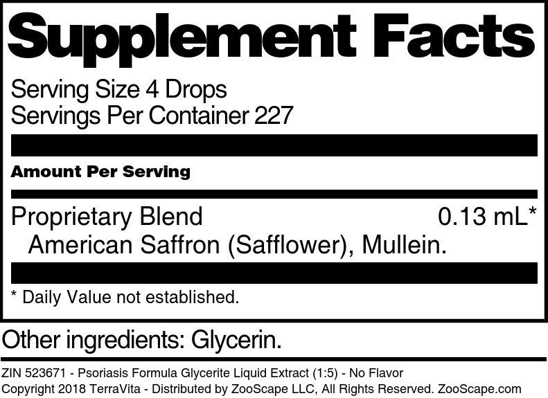 Psoriasis Formula Glycerite Liquid Extract (1:5)
