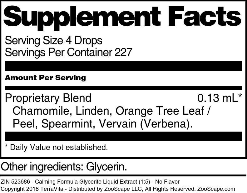 Calming Formula Glycerite Liquid Extract (1:5)