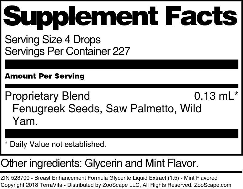 Breast Enhancement Formula Glycerite Liquid Extract (1:5)