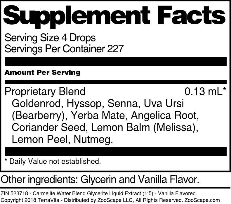 Carmelite Water Blend Glycerite Liquid Extract (1:5)