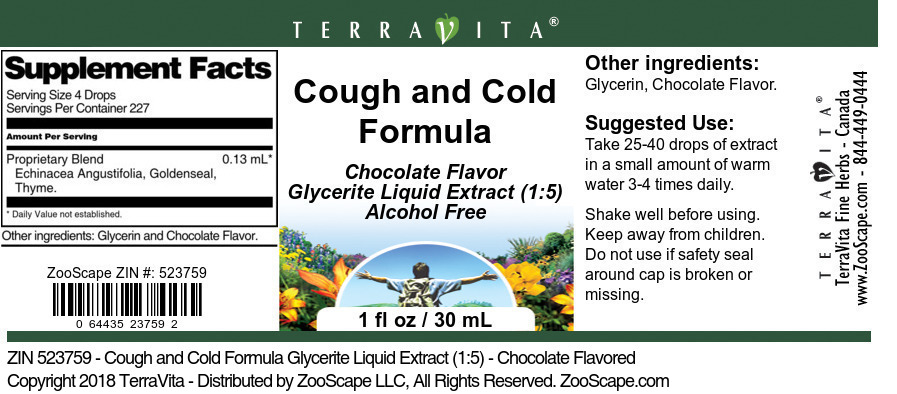 Cough and Cold Formula Glycerite Liquid Extract (1:5)