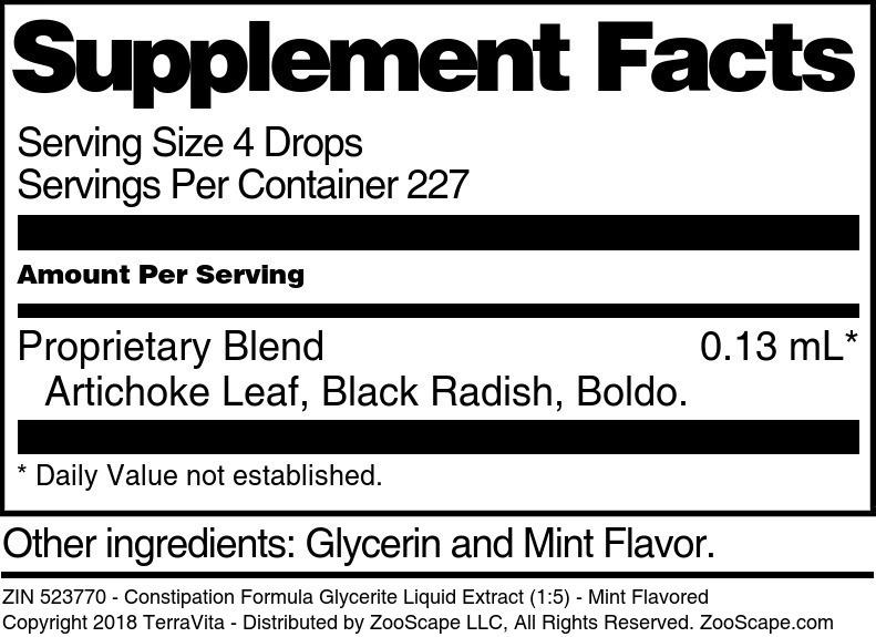 Constipation Formula Glycerite Liquid Extract (1:5)