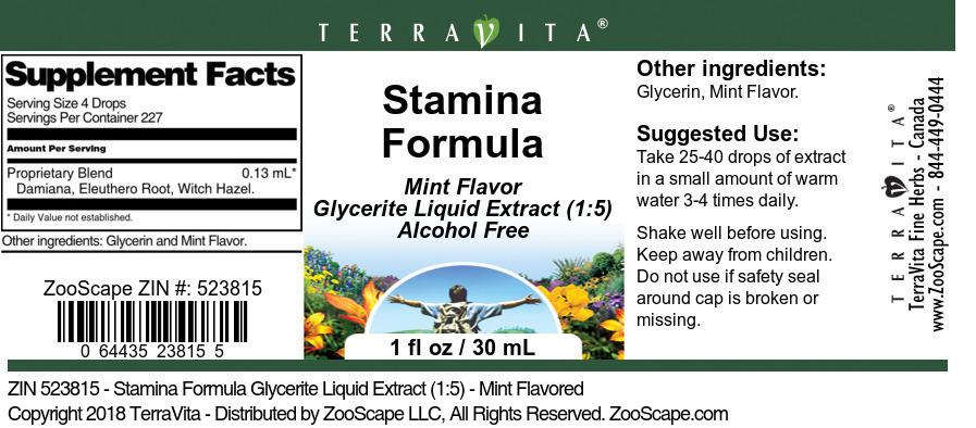 Stamina Formula Glycerite Liquid Extract (1:5)