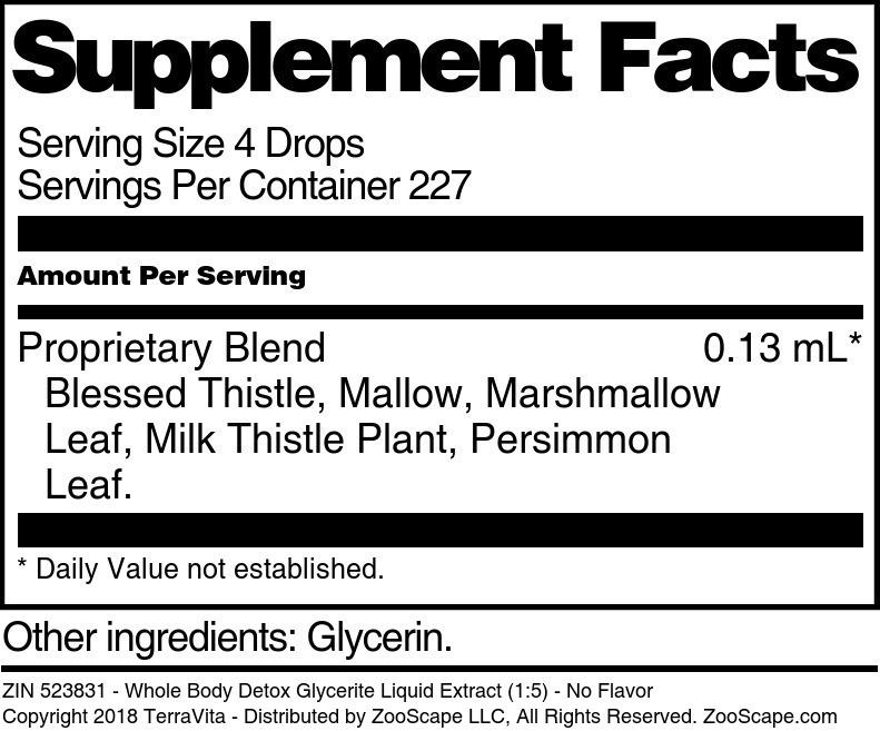 Whole Body Detox Glycerite Liquid Extract (1:5)