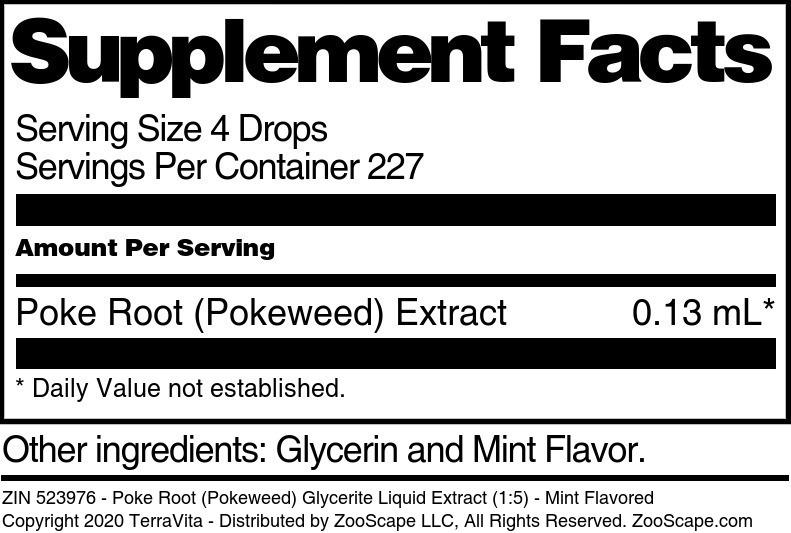 Poke Root (Pokeweed) Glycerite Liquid Extract (1:5)