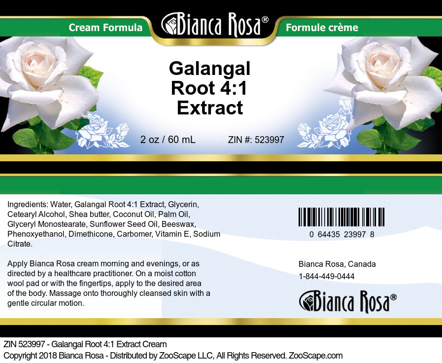 Galangal Root 4:1 Extract Cream