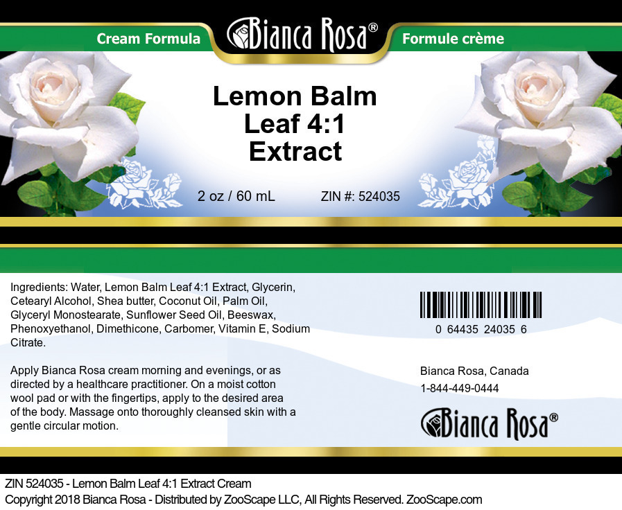 Lemon Balm Leaf 4:1 Extract Cream