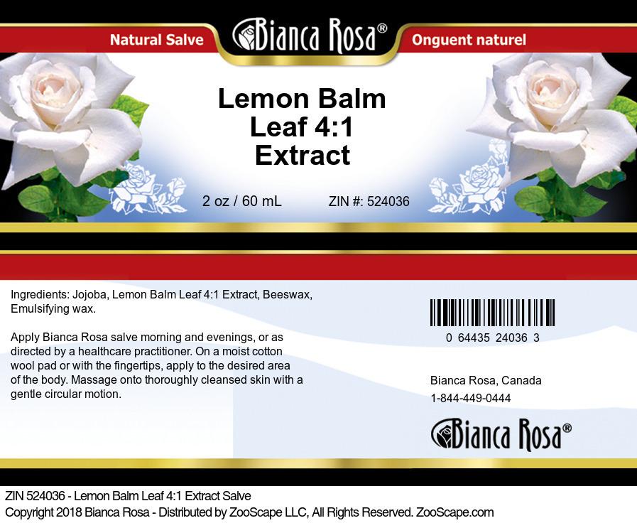 Lemon Balm Leaf 4:1 Extract Salve