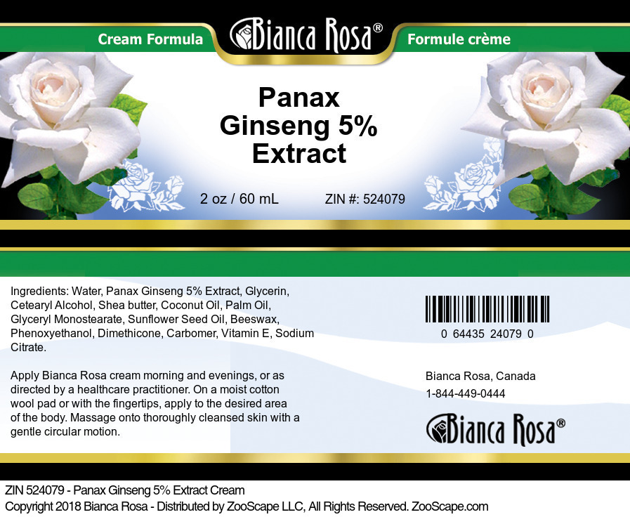Panax Ginseng 5% Extract Cream