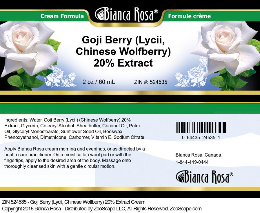 Goji Berry (Lycii, Chinese Wolfberry) 20% Extract Cream