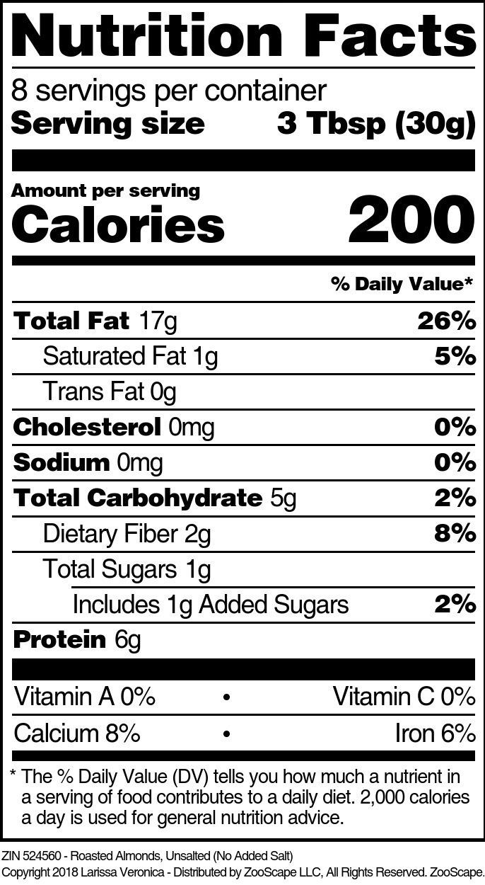 Almonds <BR>(Roasted, No Salt)