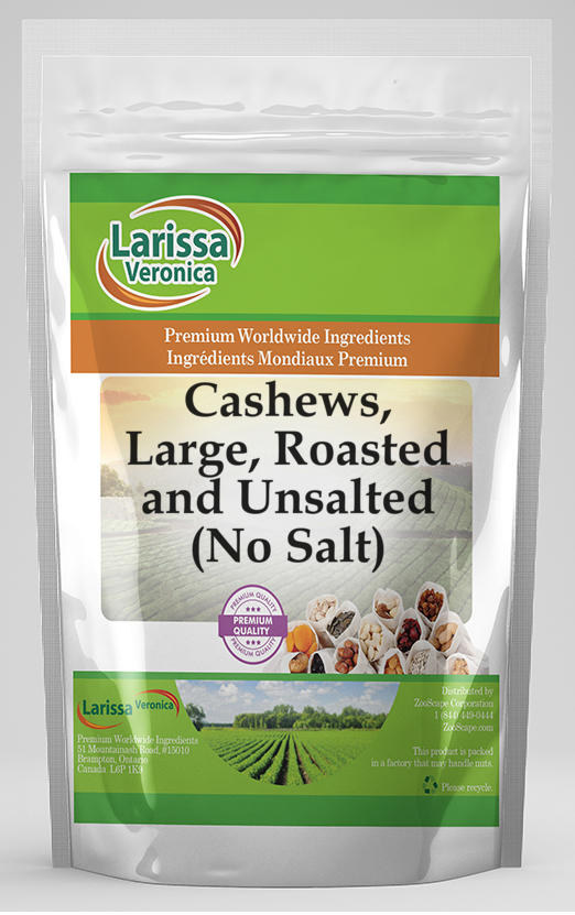 Cashews, Large, Roasted and Unsalted (No Salt)