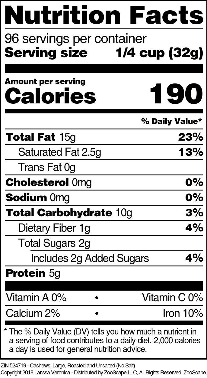 Cashews <BR>(Large, Roasted, No Salt)
