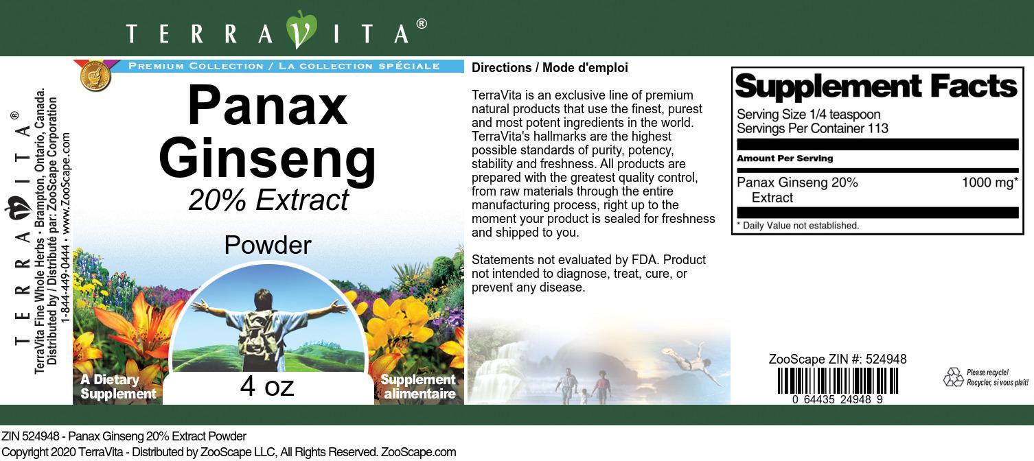 Panax Ginseng 20% Extract Powder