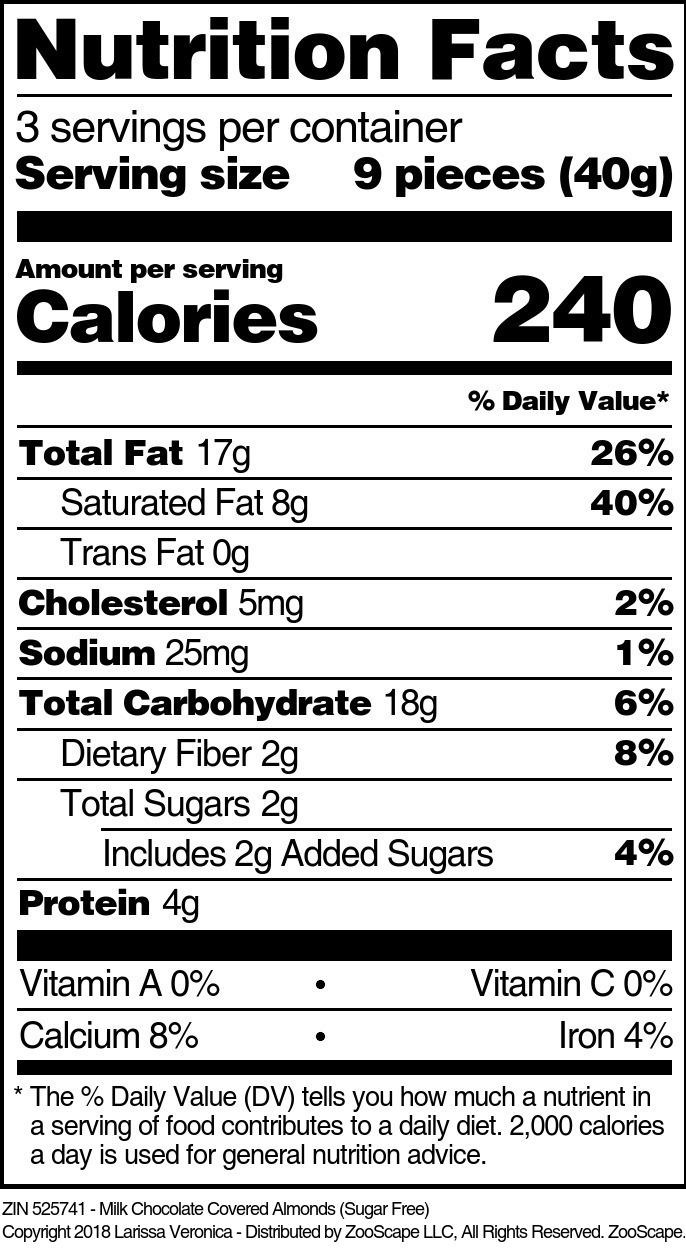 Almonds <BR>(Milk Chocolate Covered, Sugar Free)