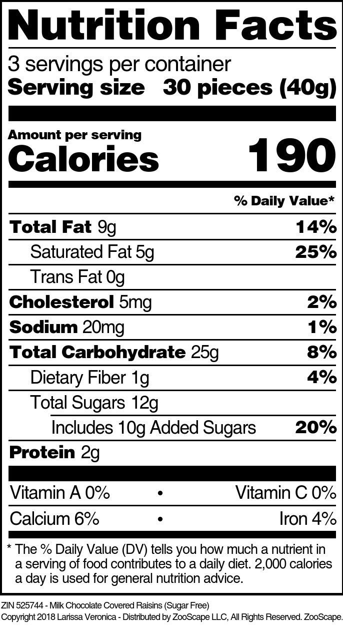 Milk Chocolate Covered Raisins (Sugar Free)