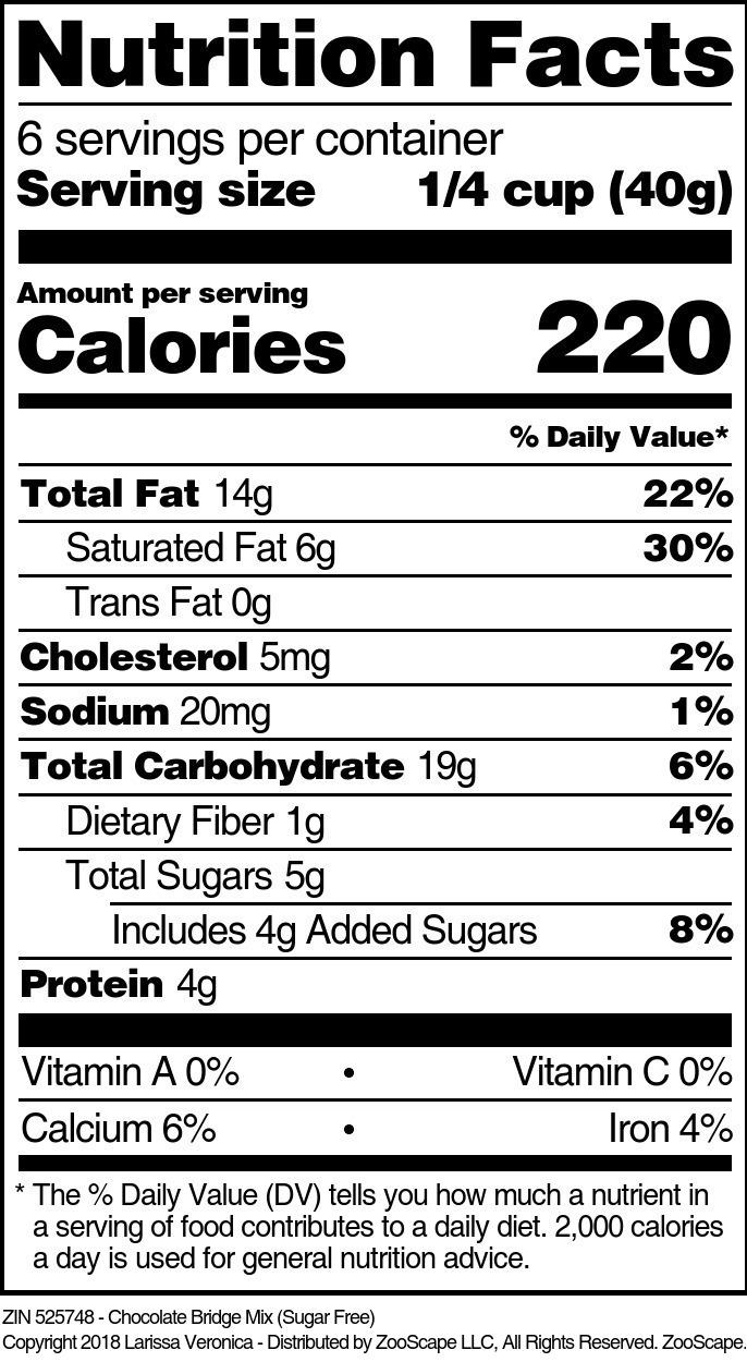 Chocolate Bridge Mix (Sugar Free)