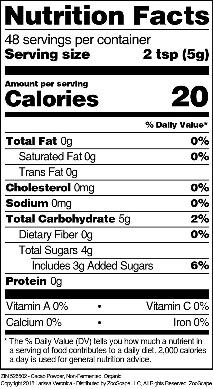 Cacao Powder, Non-Fermented, Organic