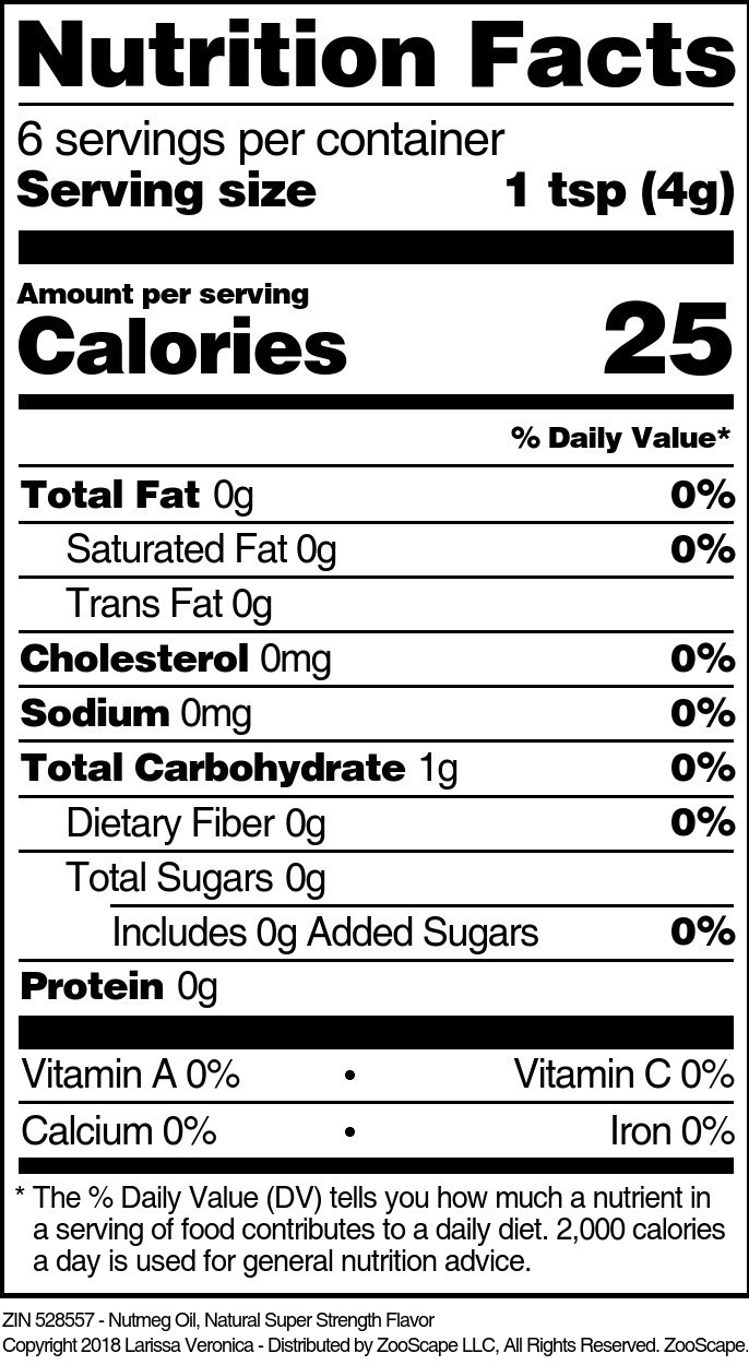 Nutmeg Oil, Natural Super Strength Flavor