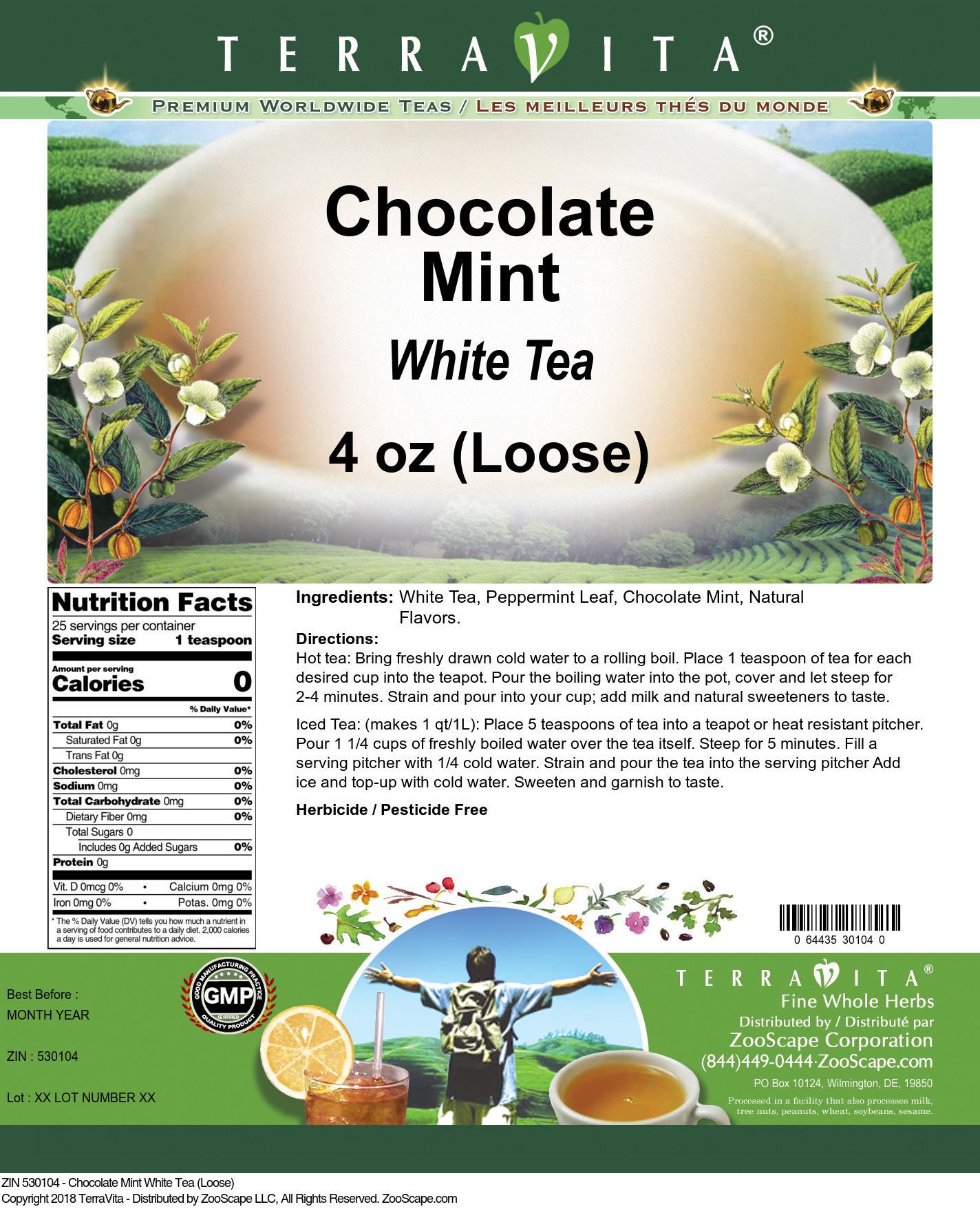 Chocolate Mint White Tea (Loose)