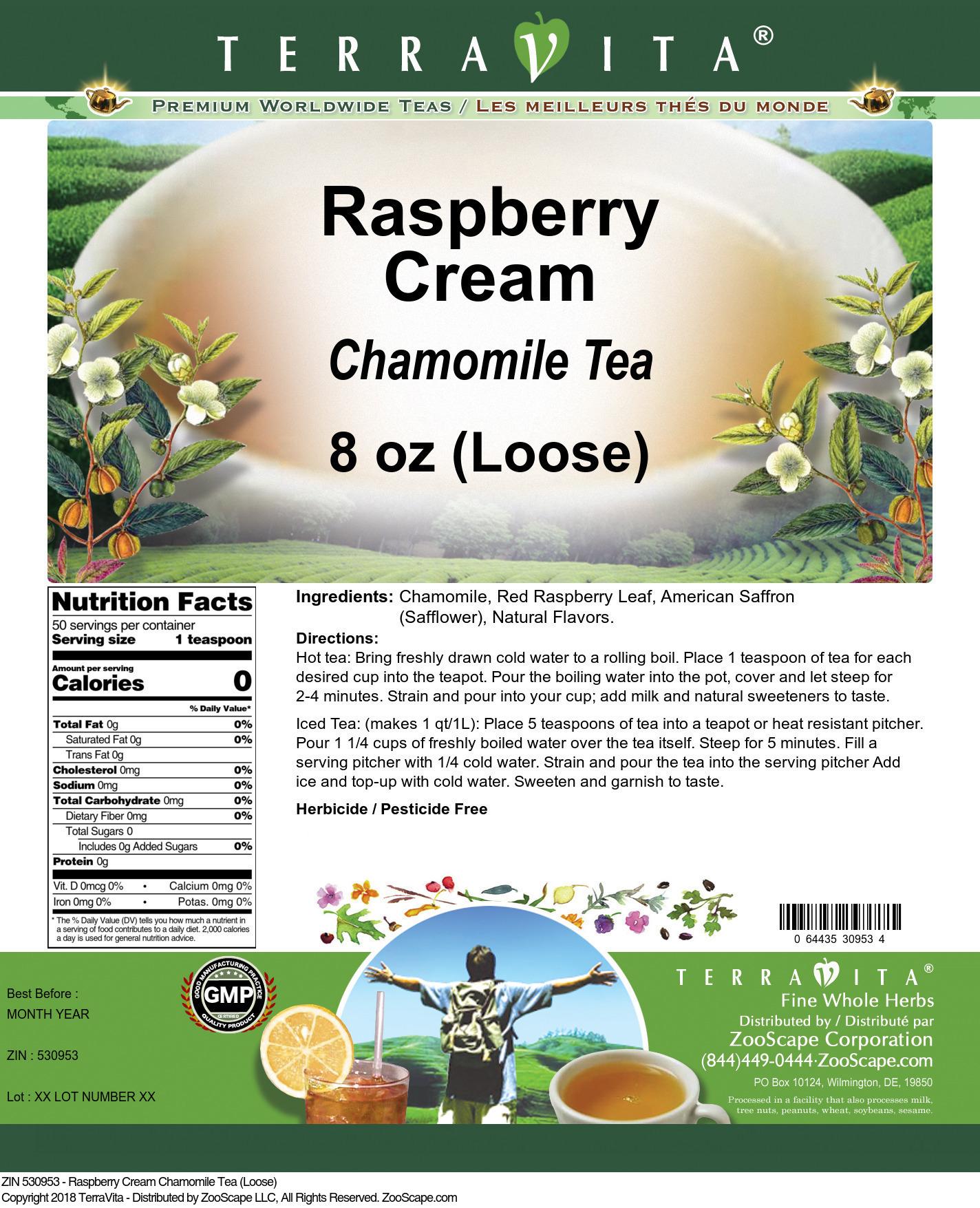 Raspberry Cream Chamomile Tea (Loose)