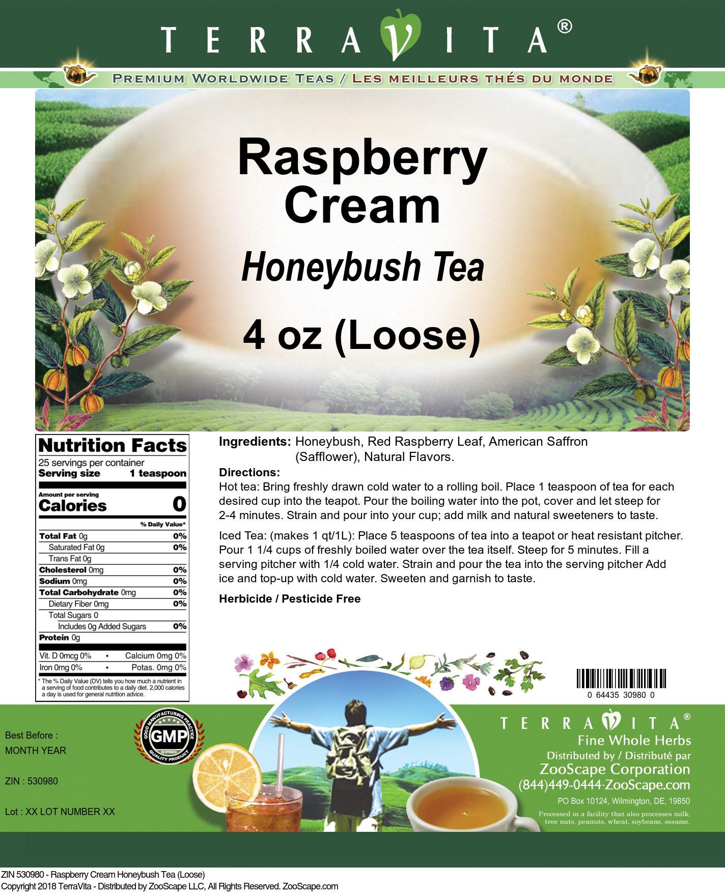 Raspberry Cream Honeybush Tea (Loose)