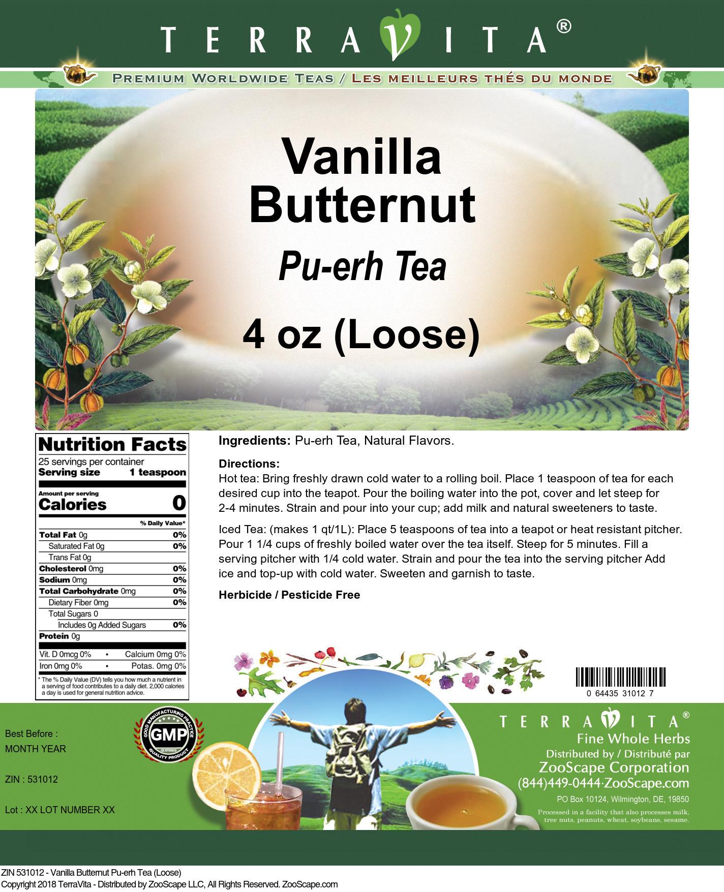 Vanilla Butternut Pu-erh Tea (Loose)