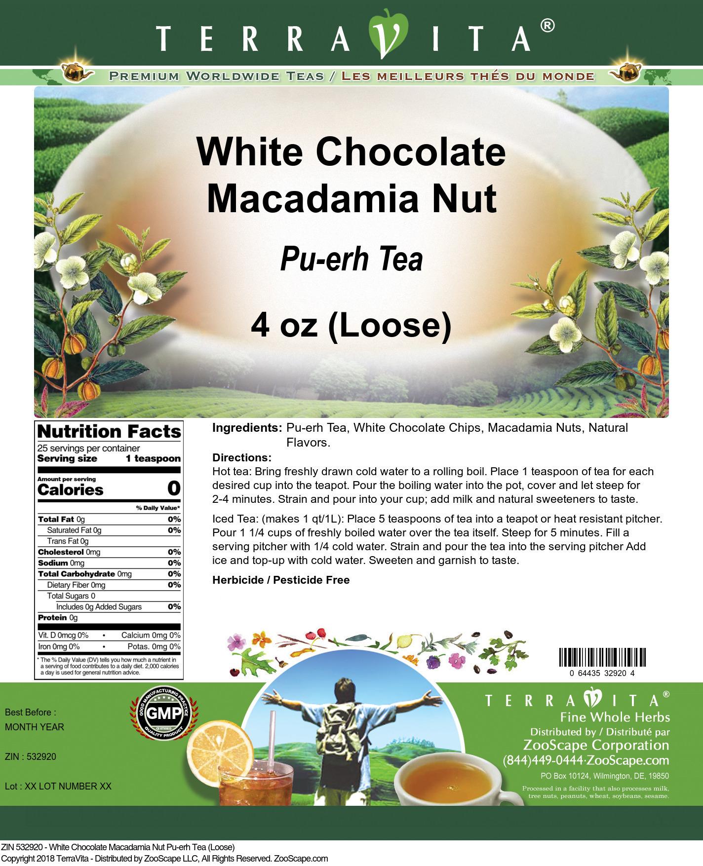 White Chocolate Macadamia Nut Pu-erh Tea (Loose)