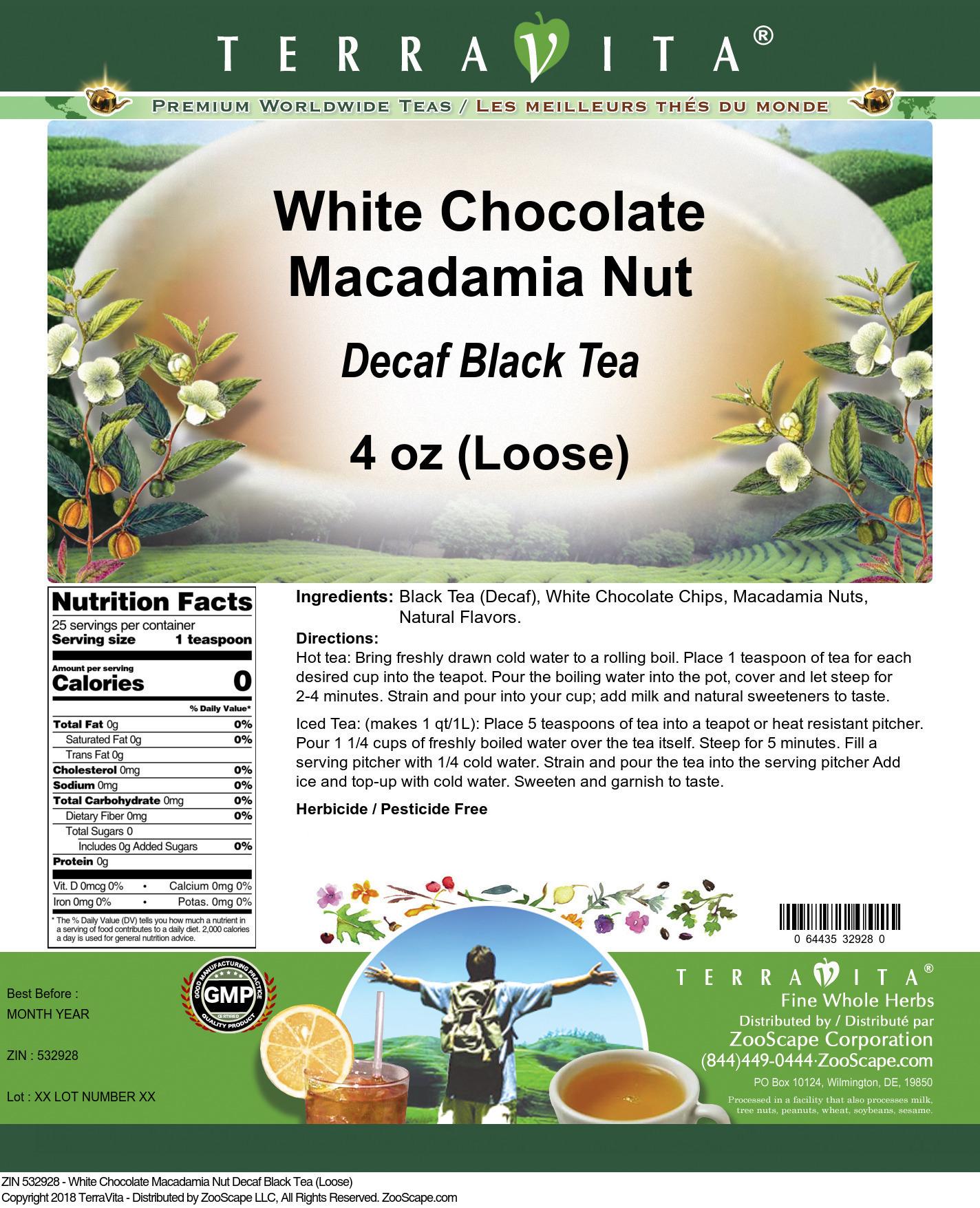 White Chocolate Macadamia Nut Decaf Black Tea (Loose)