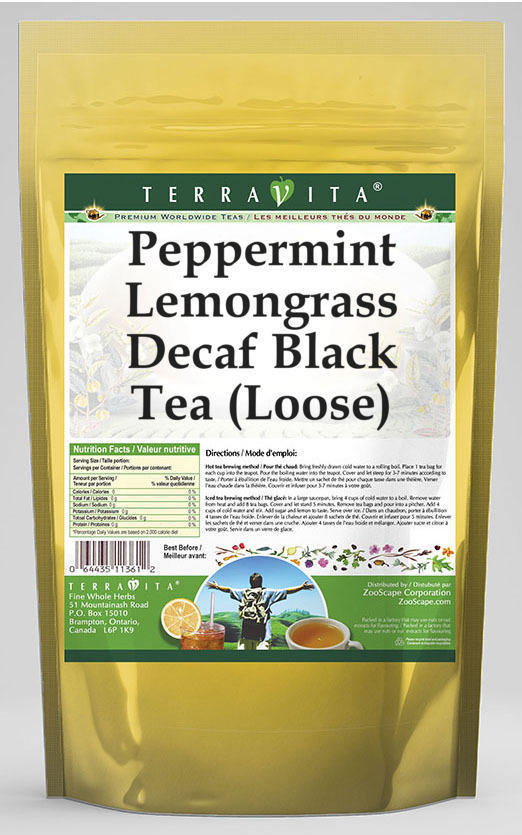 Peppermint Lemongrass Decaf Black Tea (Loose)
