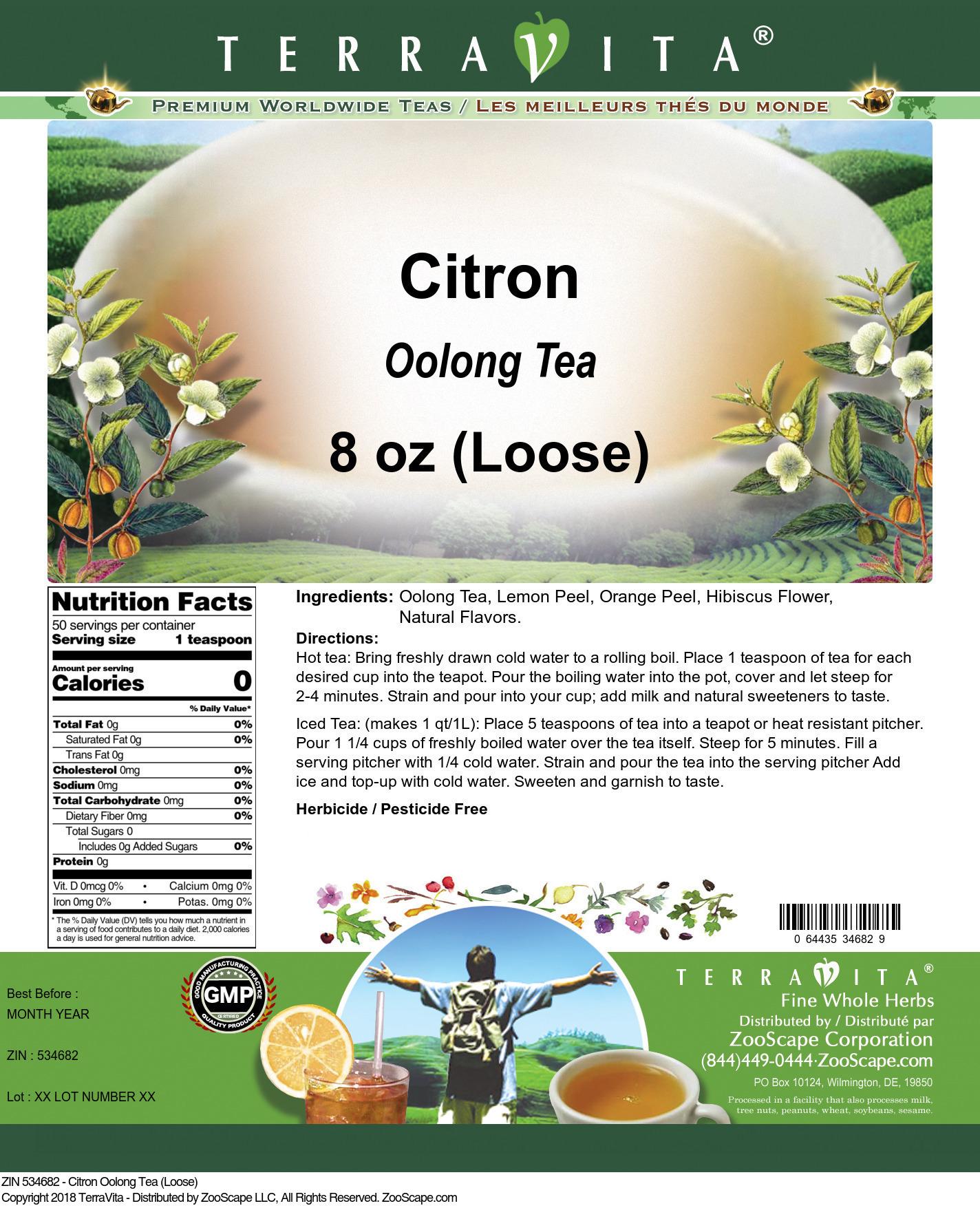 Citron Oolong Tea (Loose)