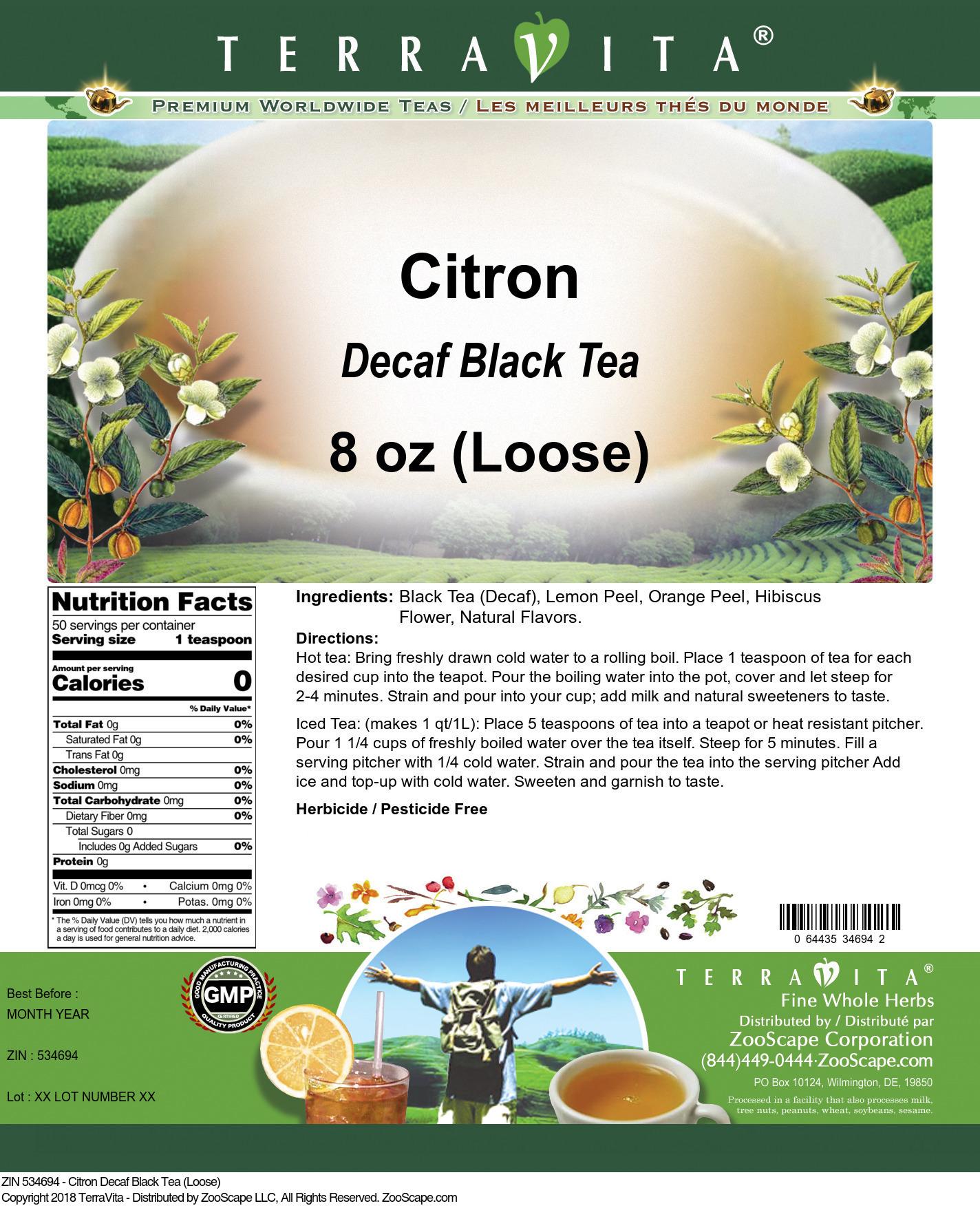 Citron Decaf Black Tea (Loose)