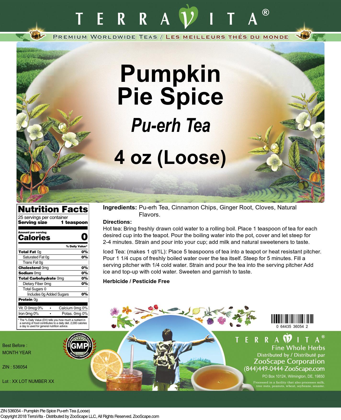 Pumpkin Pie Spice Pu-erh Tea (Loose)