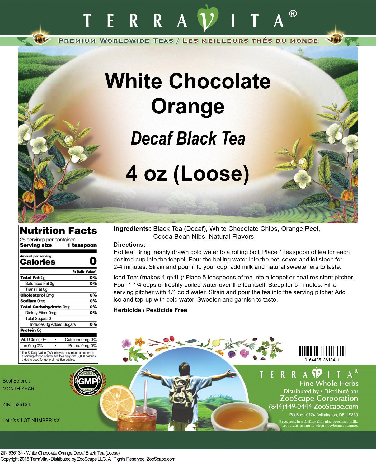White Chocolate Orange Decaf Black Tea (Loose)