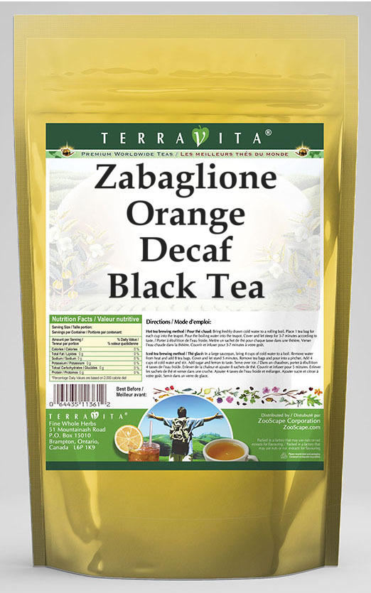 Zabaglione Orange Decaf Black Tea