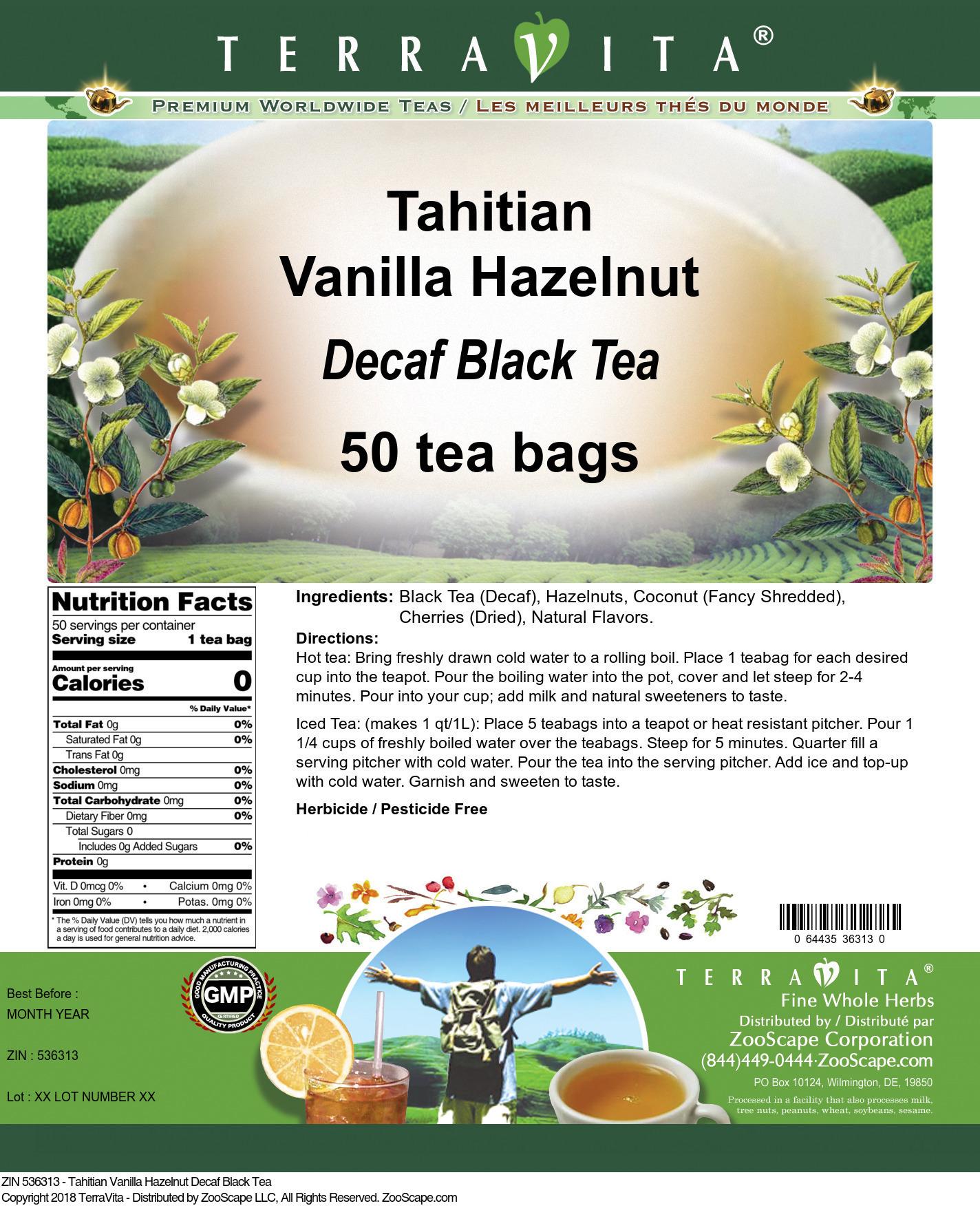 Tahitian Vanilla Hazelnut Decaf Black Tea